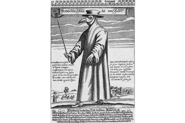 Circa 1656, A plague doctor in protective clothing. The beak mask held spices thought to purify air, the wand was used to avoid touching patients. Original Artwork: Engraving by Paul Furst after J Colombina (Photo by Hulton Archive/Getty Images)
