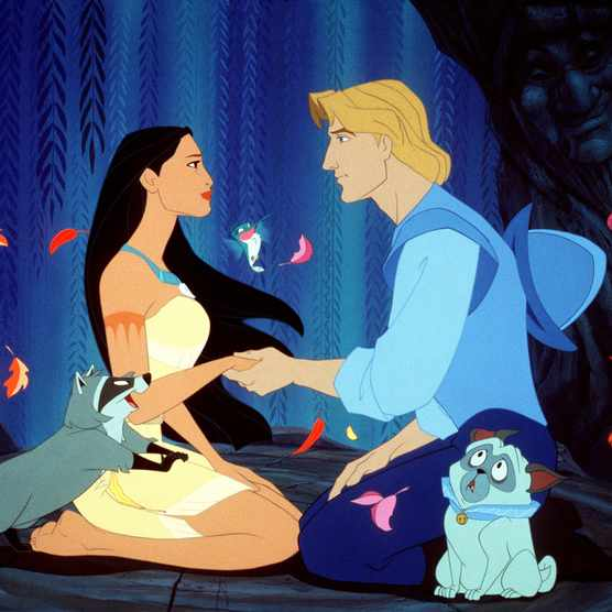 Pocahontas and John Smith in Disney's 'Pocahontas' (1995). (Photo by AF archive/Alamy Stock Photo)