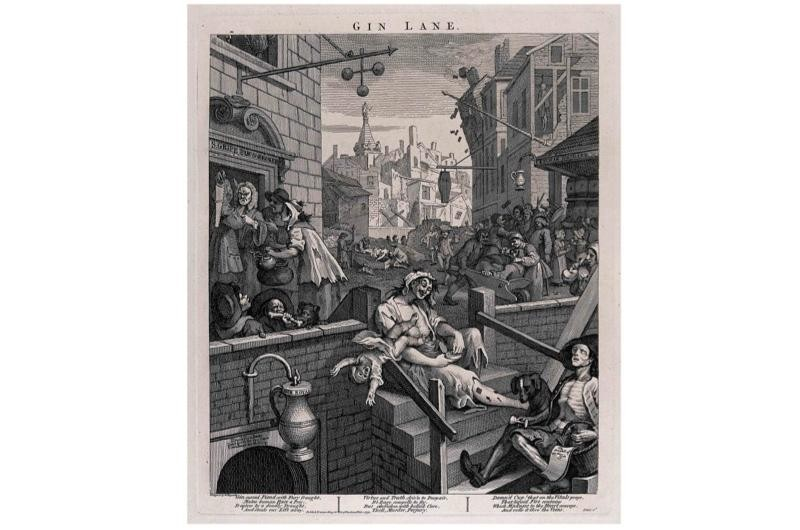 Gin lane by William Hogarth, showing the evils of his consumption