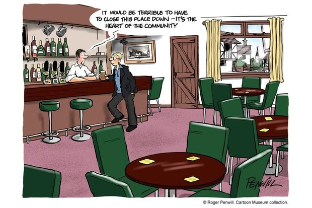 A cartoon showing a man in a bar