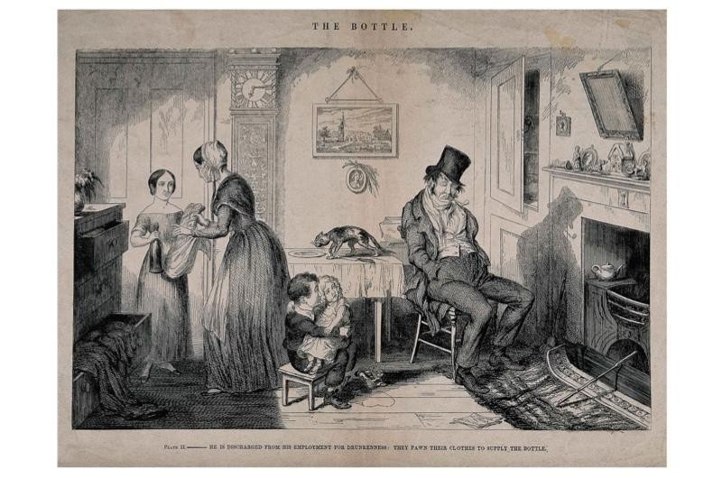 A poster showing an image from the history of drinking
