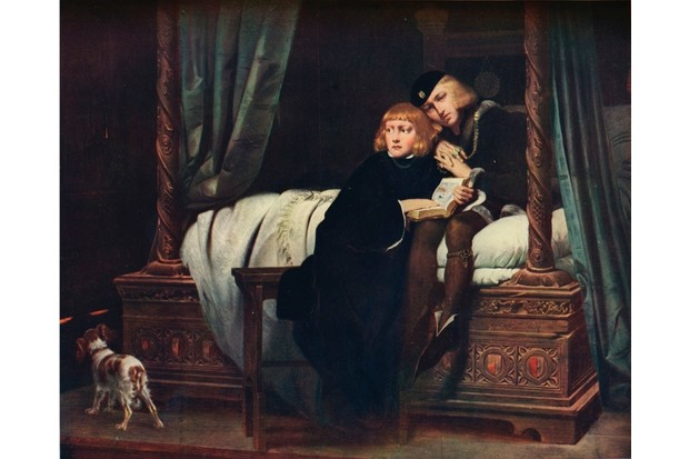 The Young Princes in the Tower', 1831. Edward V (1470-1483) and his younger brother Richard, Duke of York (1473-1483), the Princes in the Tower. Edward succeeded his father, Edward IV, as King in April 1483. He was deposed in June and was succeeded by his uncle, Richard, Duke of Gloucester, who ruled as Richard III. The two young princes were subsequently imprisoned and murdered in the Tower of London. After a painting by Hippolyte De La Roche (1797-1856), commonly known as Paul Delaroche. From the Connoisseur VOL. XXVII, 1910. (Photo by The Print Collector/Print Collector/Getty Images)