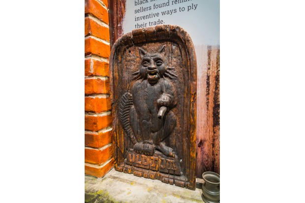 A display featuring a 'Puss-and-Mew machine' at the Beefeater Gin Distillery in Kennington, London. (Image used with permission from Beefeater Gin Distillery in Kennington, London)