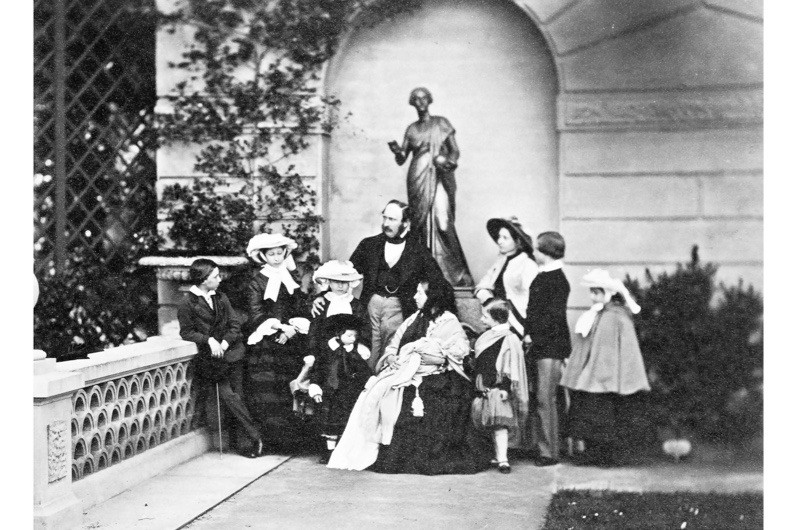 Queen Victoria of Great Britain with her husband, Prince Albert, and their nine children. (Photo by Rischgitz/Getty Images)