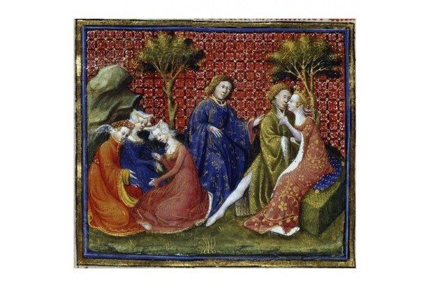 Scene from 'Mort d'Arthur', 14th century. Sir Lancelot of the Lake and Queen Guinevere seen embracing by King Arthur. (Photo by Ann Ronan Pictures/Print Collector/Getty Images)