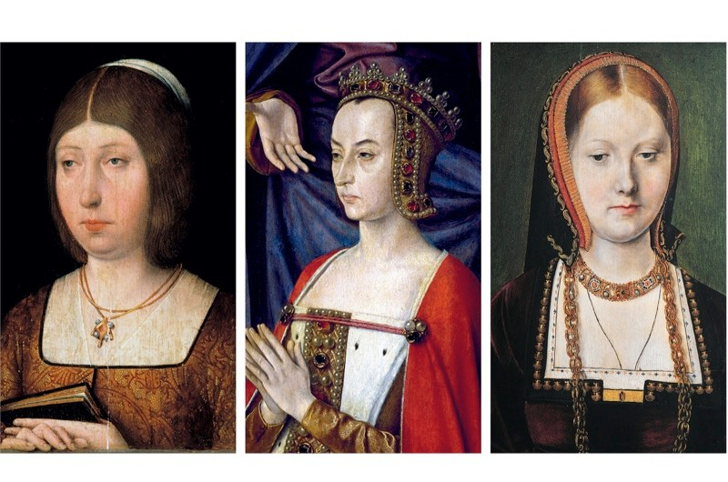 From left to right: Queen Isabella of Castile; French regent Anne de Beaujeu; and Catherine of Aragon. (Photos by Fine Art Images/Heritage Images/DeAgostini/Imagno/Getty Images)