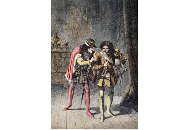 An illustration of King Richard speaking to James Tyrrell in William Shakespeare's 'The Tragedy of King Richard the Third