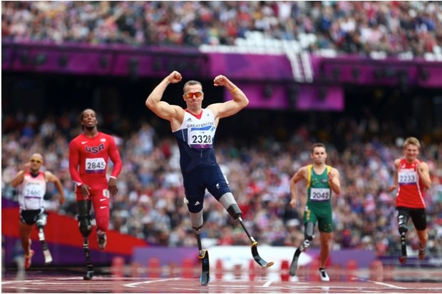 LONDON, ENGLAND - SEPTEMBER 01:  Richard Whitehead of Great Britain celebrates winning gold in the Men's 200m - T42 Final on day 3 of the London 2012 Paralympic Games at Olympic Stadium on September 1, 2012 in London, England.  (Photo by Michael Steele/Getty Images)