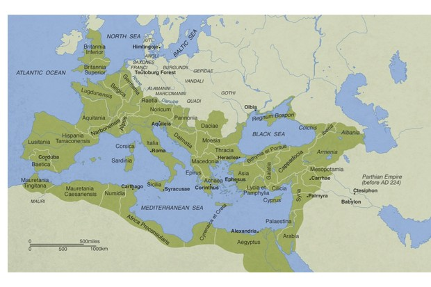 A map showing the Roman empire in AD 235–38
