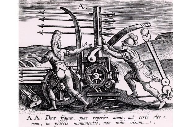 Engraving of Roman war engine the scorpio