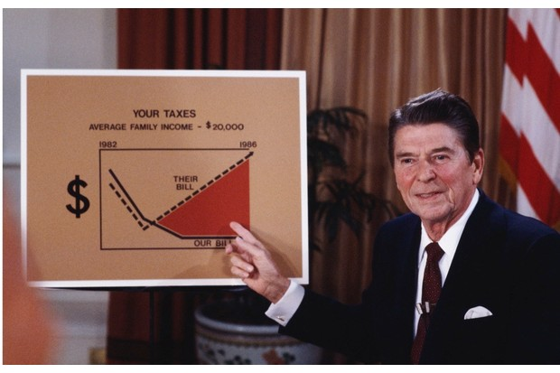 President Ronald Reagan addresses the nation from the Oval Office on tax reduction legislation, July 1981. (Photo by David Hume Kennerly/Getty Images)
