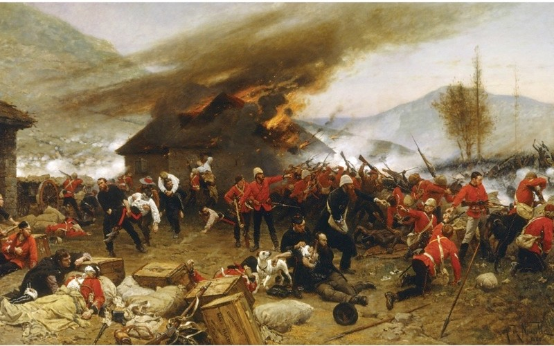 "Alphonse de Neuville's 1880 painting 'The Defence of Rorke's Drift'. The battle was to become a ""supreme symbol of imperial heroism"". (Universal History Archive/UIG via Getty images)"