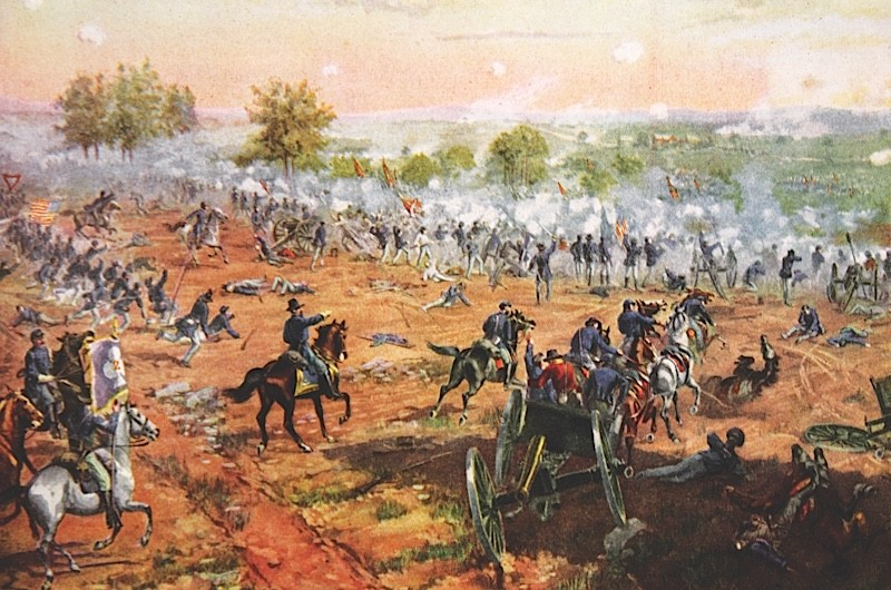 STC354355 The Battle of Gettysburg, July 1st-3rd 1863 (colour litho) by Ogden, Henry Alexander (1856-1936); Private Collection; (add.info.: The Battle of Gettysburg, fought in and around the town of Gettysburg, Pennsylvania, as part of the Gettysburg Campaign, was the battle with the largest number of casualties in the American Civil War, and is often described as the war's turning point;); The Stapleton Collection; American,  it is possible that some works by this artist may be protected by third party rights in some territories possible copyright restrictions apply, consult national copyright laws