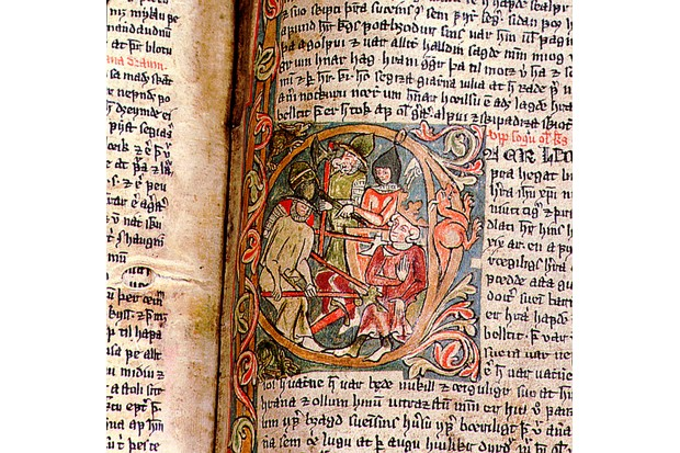 This marginal illumination from the Saga of Saint Olaf shows his death at the battle of Stiklestad in 1030.
