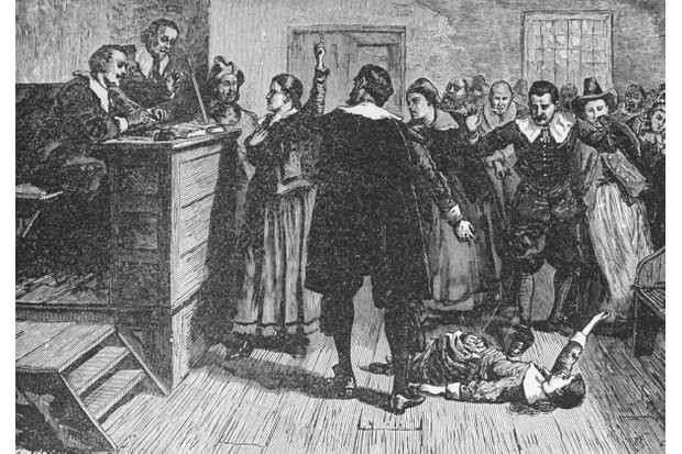 Engraving depicting the trial of a witch in Salem, Massachusetts