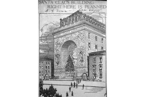 "A sketch of the proposed Santa Claus Building to be constructed in the middle of Manhattan, published in The Sun, which proposed a 50ft stained glass Santa window, illustrations on the exterior by Maxfield Parrish, and a frieze at the base depicting dozens of children ""in all their multitudinous moods"". (Photo by Gluck Scrapbooks)"