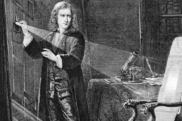 Isaac Newton investigating light
