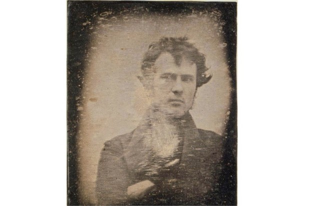 Robert Cornelius poses for the camera in what is believed to be the world's first self-portrait produced by a photograph, 1839. (Robert Cornelius/Getty Images)