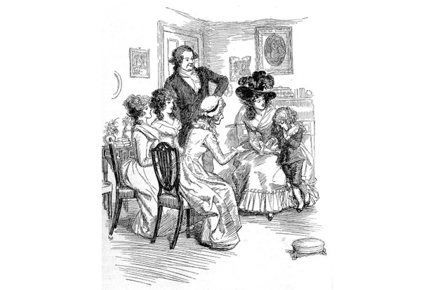'Sense and Sensibility' by Jane Austen - Lady Middleton's son is shy before company. First published in 1896, Chapter VI. Illustration by Hugh Thomson (1860-1920), 1896. (Photo by Culture Club/Getty Images)