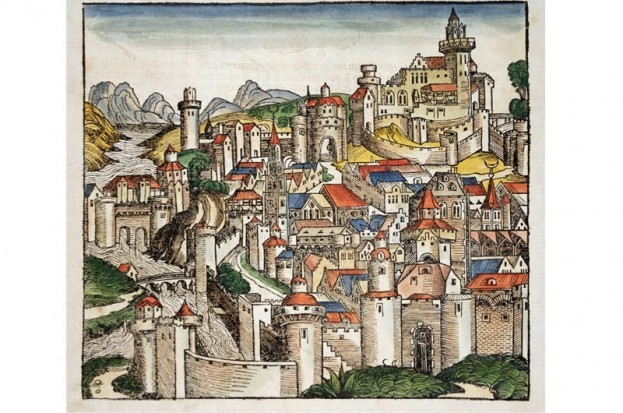 A woodcut print of the medieval town of Pisa.