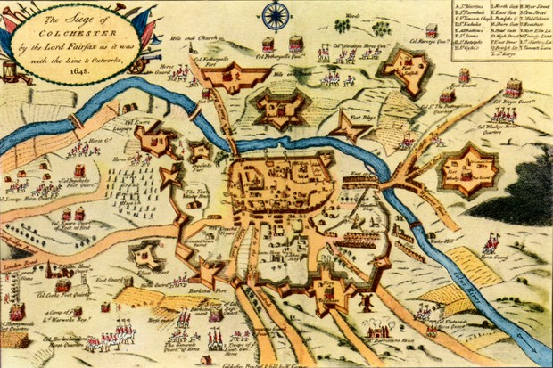 The Siege of Colchester, 1648. Coloured engraving by W Keymer. (Photo by Culture Club/Getty Images)