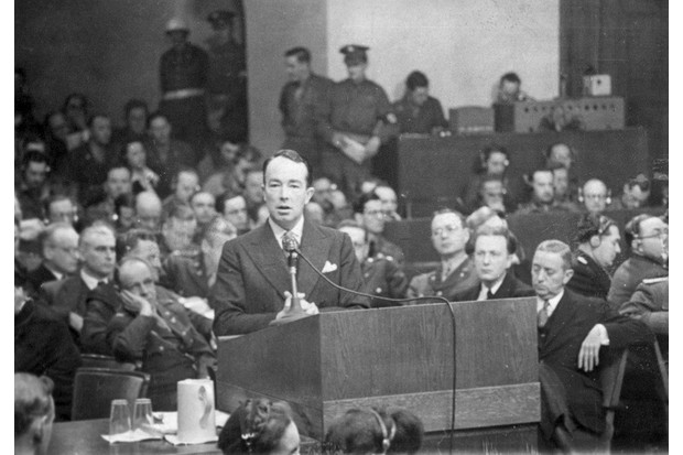 1946:  British politician and lawyer Sir Hartley Shawcross putting the case for the prosecution at the trial of 20 Nazi leaders at Nuremberg.  (Photo by Keystone/Getty Images)