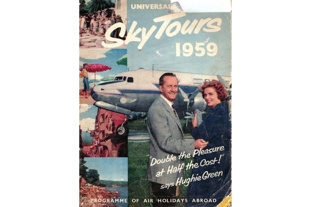 Hughie Green on Universal Sky Tours' brochure