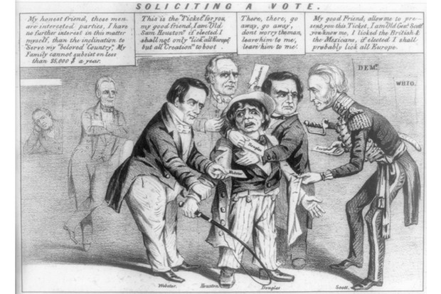 Soliciting a vote 1852. cynical view of party competition for the working man's vote in the presidential campaign of 1852. In a polling place, four candidates struggle to force their own election ticket on a short, uncouth-looking character in a long coat. The latter holds a whip, suggesting that he is either a New York cabman or a farmer. The candidates are (left to right): Whig senator from Massachusetts Daniel Webster, Texas Democrat Sam Houston, Illinois Democrat Stephen A. Douglas, and Whig general Winfield Scott. (Photo by: Universal History Archive/UIG via Getty Images)