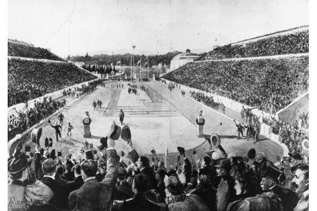 Image depicting Spiridon Louis winning the first Olympic marathon, at the Athens Olympics, April 1896. (Photo by HultonArchive/Illustrated London News/Getty Images)