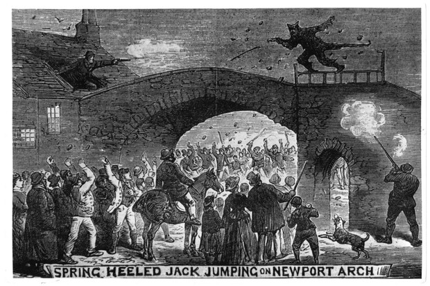 Spring-Heeled Jack, a devil-like character of British urban legend, escapes from an angry mob at Newport Arch in Lincoln, 1877. (Photo by Hulton Archive/Getty Images)