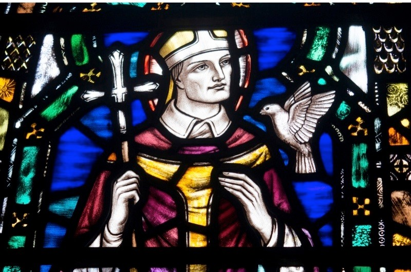 St David painting in stained glass window, Ceredigion, UK. Exact date unknown. (Photo by David Angel/AlamyStock Photo)