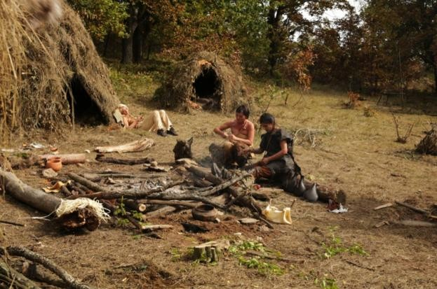 10,000 BC participants in their Mesolithic-style camp. (Channel 5)