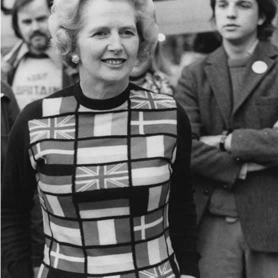 Newly-elected Conservative Party Leader of the Opposition, Margaret Thatcher (1925 - 2013) lends her support to 'Keep Britain in Europe' campaigners in Parliament Square, London, on 4th June 1975, the day before voting in the United Kingdom EEC referendum (or Common Market referendum). Thatcher is wearing a sweater featuring the flags of European member states. Britain had joined the European Community two years earlier and the following day, just over two-thirds of voters backed continued British membership. (Photo by P. Floyd/Daily Express/Hulton Archive/Getty Images)