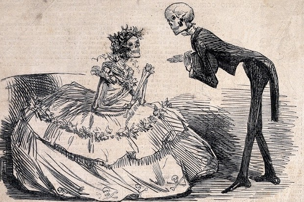 V0042226 Two skeletons dressed as lady and gentleman. Etching, 1862. Credit: Wellcome Library, London. Wellcome Images images@wellcome.ac.uk http://wellcomeimages.org Two skeletons dressed as lady and gentleman. Etching, 1862. 1862 Published: February 8, 1862  Copyrighted work available under Creative Commons Attribution only licence CC BY 2.0 http://creativecommons.org/licenses/by/2.0/
