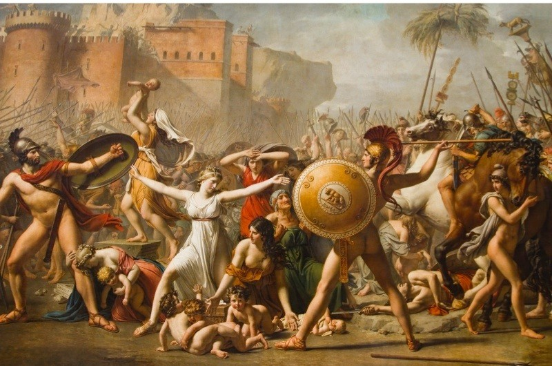 Painting of The Intervention of the Sabine Women in a museum, Musee Du Louvre, Paris, France