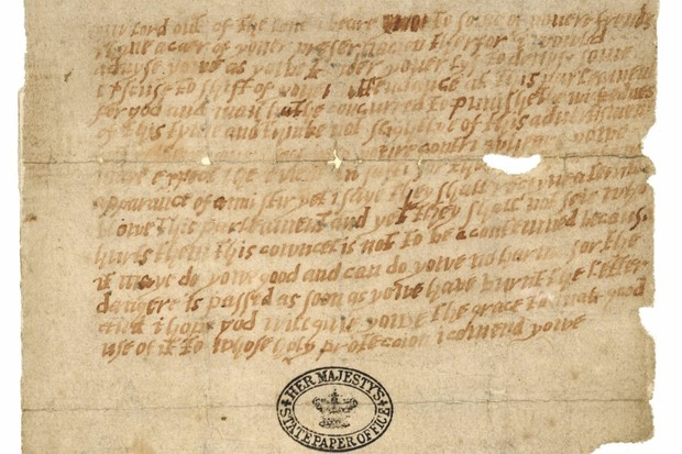 The Monteagle letter, which shares a warning about the Gunpowder Plot. (National Archives)