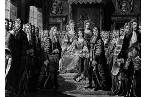 The articles of the union of the parliaments of England and Scotland are presented to Queen Anne at court on behalf of Scotland, 1707. Engraving after original work by Sir Geoffrey Kneller. (Photo by Hulton Archive/Getty Images)