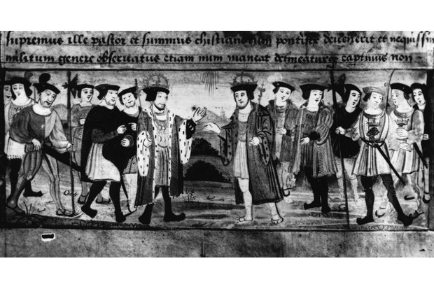 Henry VIII meets the king of France near Calais (1520) to try to negotiate an alliance, at what became known as 'The Field of the Cloth of Gold'. (Photo by Hulton Archive/Getty Images)