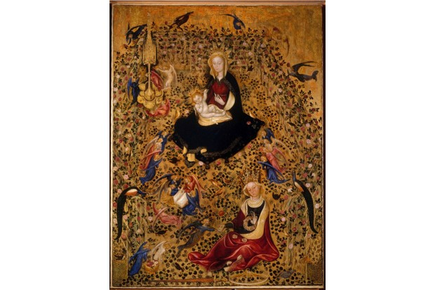The Madonna of the Rose Garden (Madonna del Roseto), c.1425. Found in the collection of Musei Civici, Verona. Artist :  Michelino da Besozzo (c. 1370-c. 1455). (Photo by Fine Art Images/Heritage Images/Getty Images)