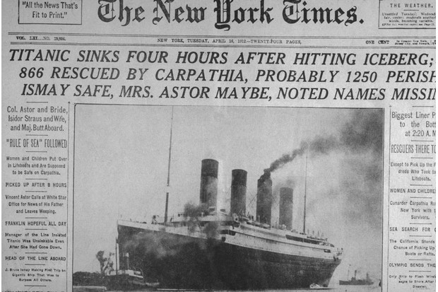 Front page showing the sinking of the Titanic