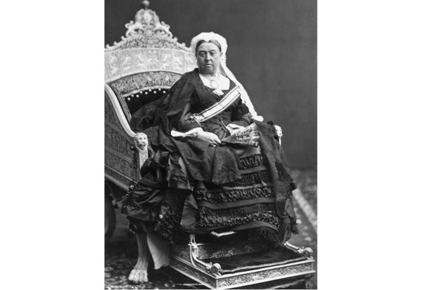 Queen Victoria on an ivory throne, 1876. (W. & D. Downey/Getty Images)