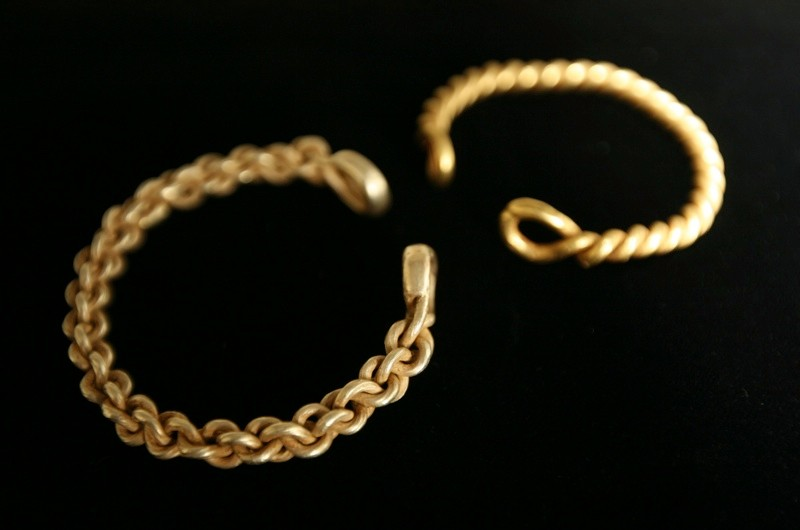 Iron Age Gold Torcs - Seen here: The Two Gold Torcs which have been declared the first Iron Age gold jewellery ever found in the north of England.  Dating back to 100BC-70BC, the bracelets made entirely of gold would have at one time been worn by someone of immense wealth, possibly royalty, were found in a stream near Towton, North Yorkshire, by metal detectorists in 2010 and 2011...and will be on temporary show at The Yorkshire Museum in York, from today (21 Nov 2011) until 31 January 2012. The Museum now has to raise £60,000 to make sure they stay in Yorkshire. For Further Info: Lee Clark/YMT PO - 07730 642920