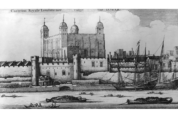 The Tower of London as seen from the River Thames, 1647. From an engraving by Wenceslaus Hollar. (Photo by Hulton Archive/Getty Images)