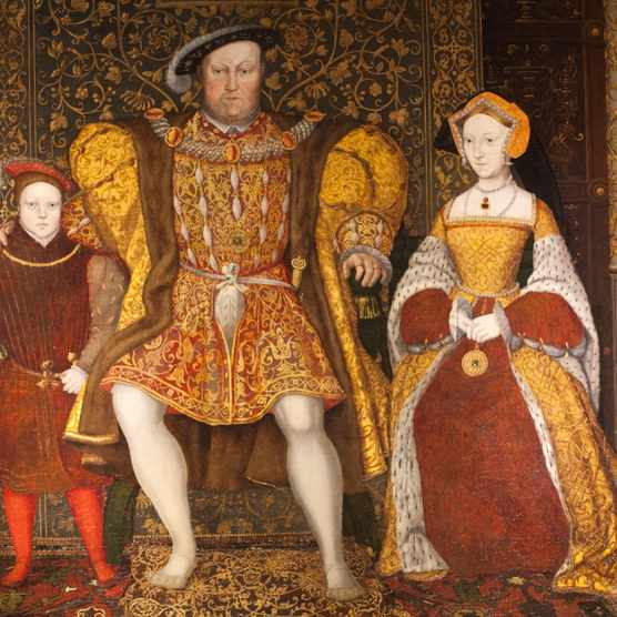 Portrait of King Henry VIII, Jane Seymour and Prince Edward. (Photo by Getty Images)