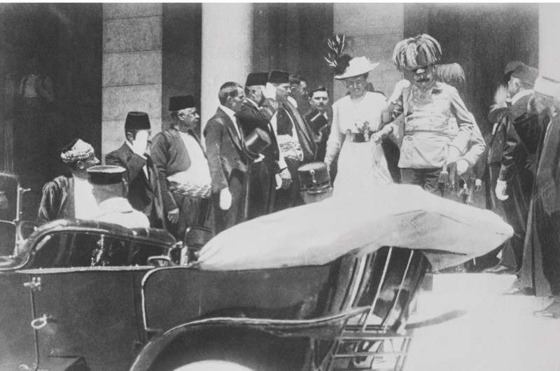 28 Jun 1914, Sarajevo, Bosnia and Herzegovina --- Original caption: Austrian Crown Prince Franz Ferdinand and his wife Sophie, walked down steps to enter car on June 28, 1914.  Five minutes later, they were shot fatally at close range by Gavrile Princip, shown on bottom second right.  The assassination triggered World War I, which ended just 60 years ago to this date. --- Image by © Bettmann/CORBIS