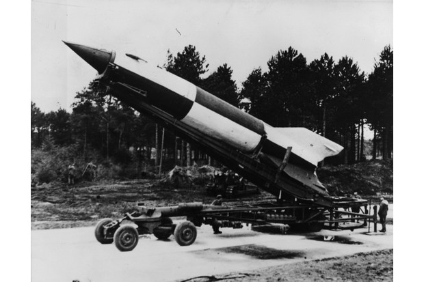 A German V2 rocket ready for launch at Cuxhaven in the Luneburg district, Lower Saxony, 1945. (Photo by Fox Photos/Getty Images)