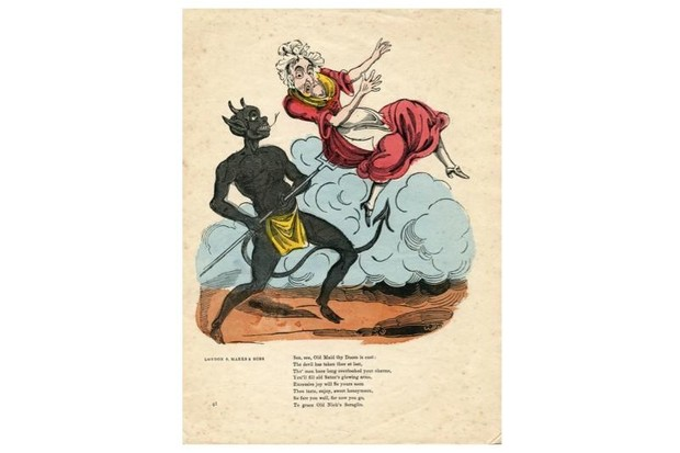 A Valentine's card showing a devil spearing an old lady on a pitchfork.