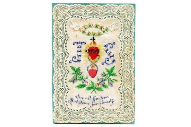 "A delicate lace Valentine's day card depicting the words: ""Love all for Jesus, but Jesus for himself."""