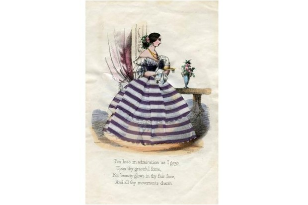 A Valentine's day card showing a lady wearing a stripy dress with a full skirt.