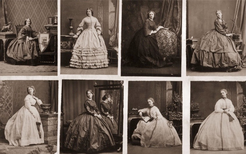 A series of images depicting Victorian women wearing crinolines, c1860. (Photo by Hulton Archive/Getty Images)